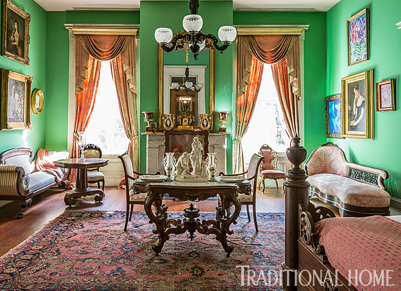 Parrot Green Walls A Rococo Center Table By Alexander Roux And Half Tester Bed 19th Century New Orleans Craftsman William McCracken Grace The Room