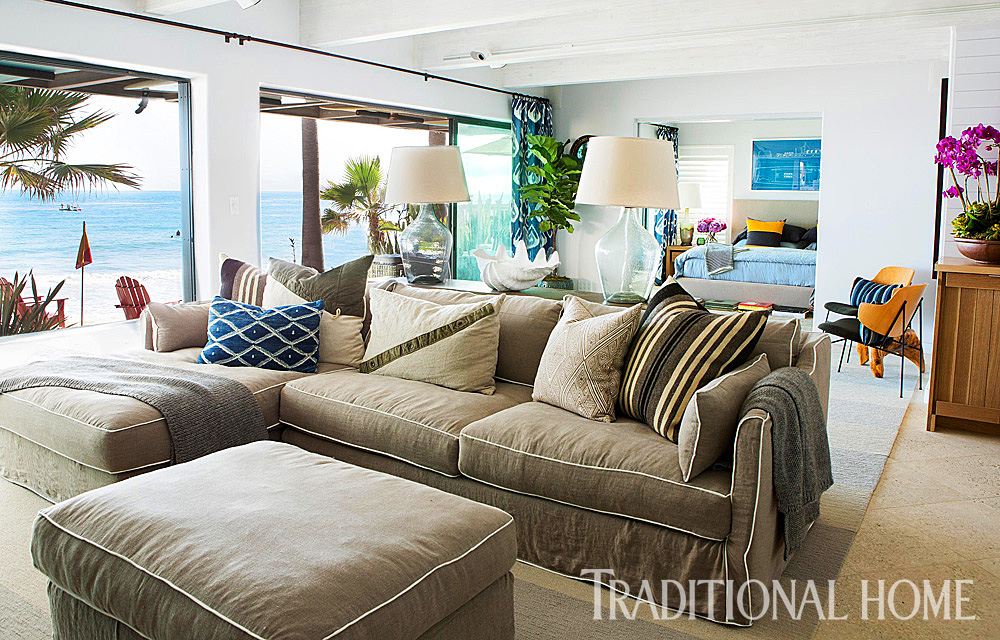 A Slipcovered Sectional And Ottoman From Cisco Are Beach Friendly And Cozy,  Yet Still Chic.