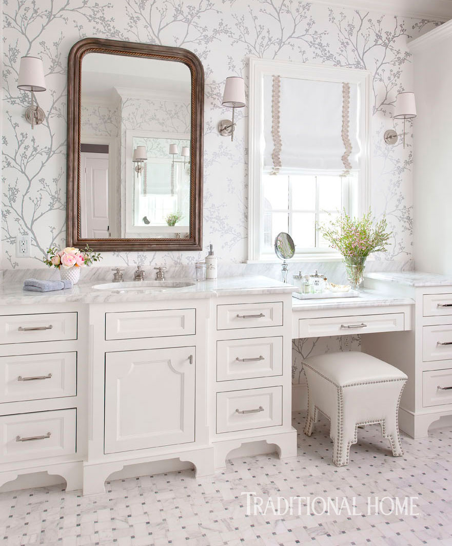 serene bathroom dressed in silver | traditional home