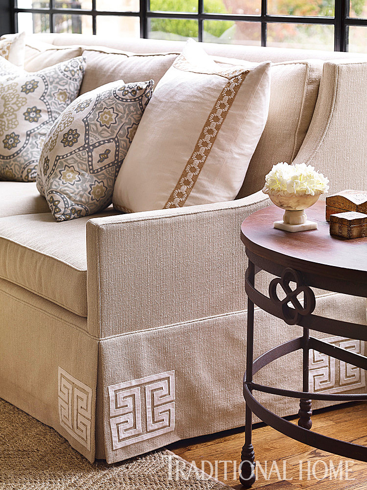 Square Appliqués By Mary McDonald For Schumacher Add Swanky Detail To The  Skirt Of The Sofa.