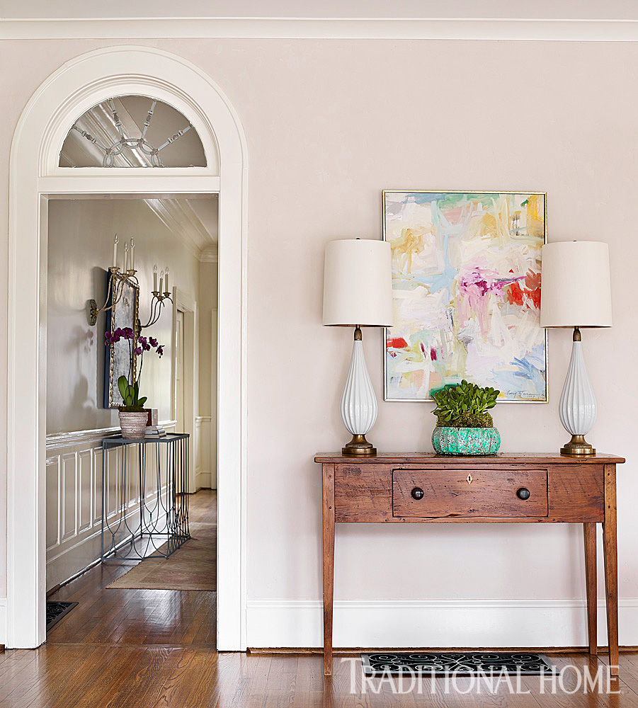 Ordinaire A Colorful Abstract Painting Co Exists With An Antique Sideboard And  Midcentury Lamps.