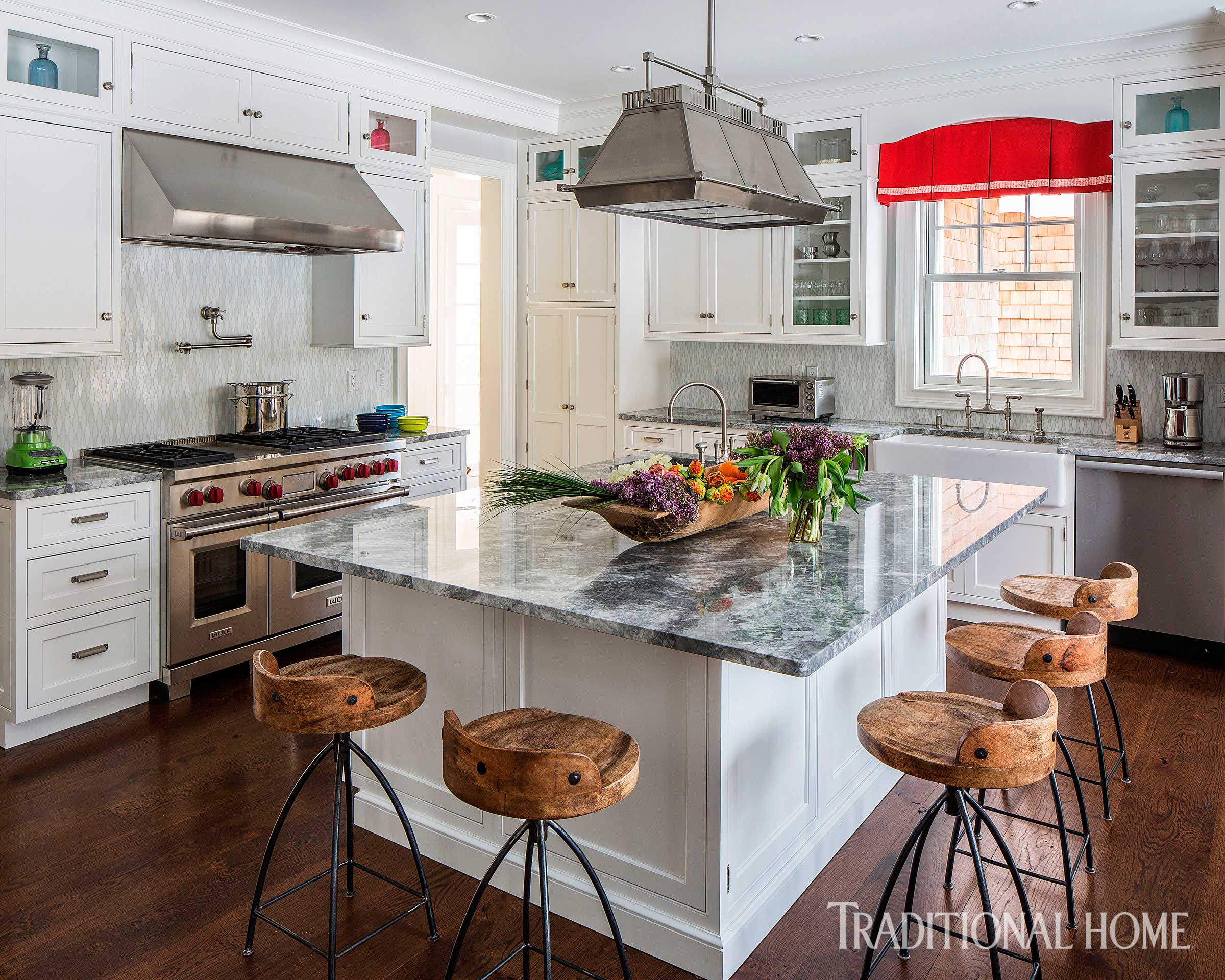 great color in a hamptons home traditional home