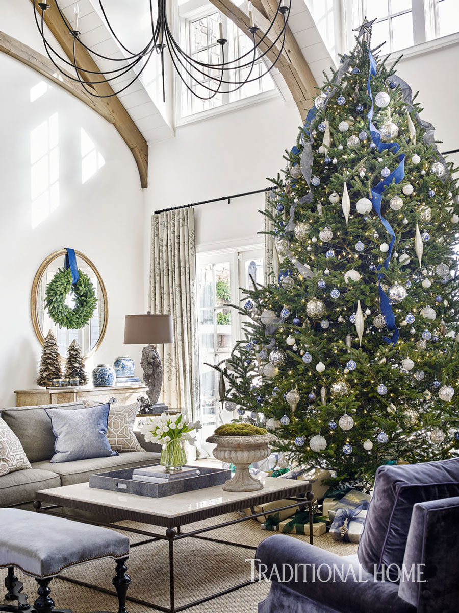 for julie and brad lich highlighting blue and white in their christmas decorating was merely a natural extension of their homes year round palette