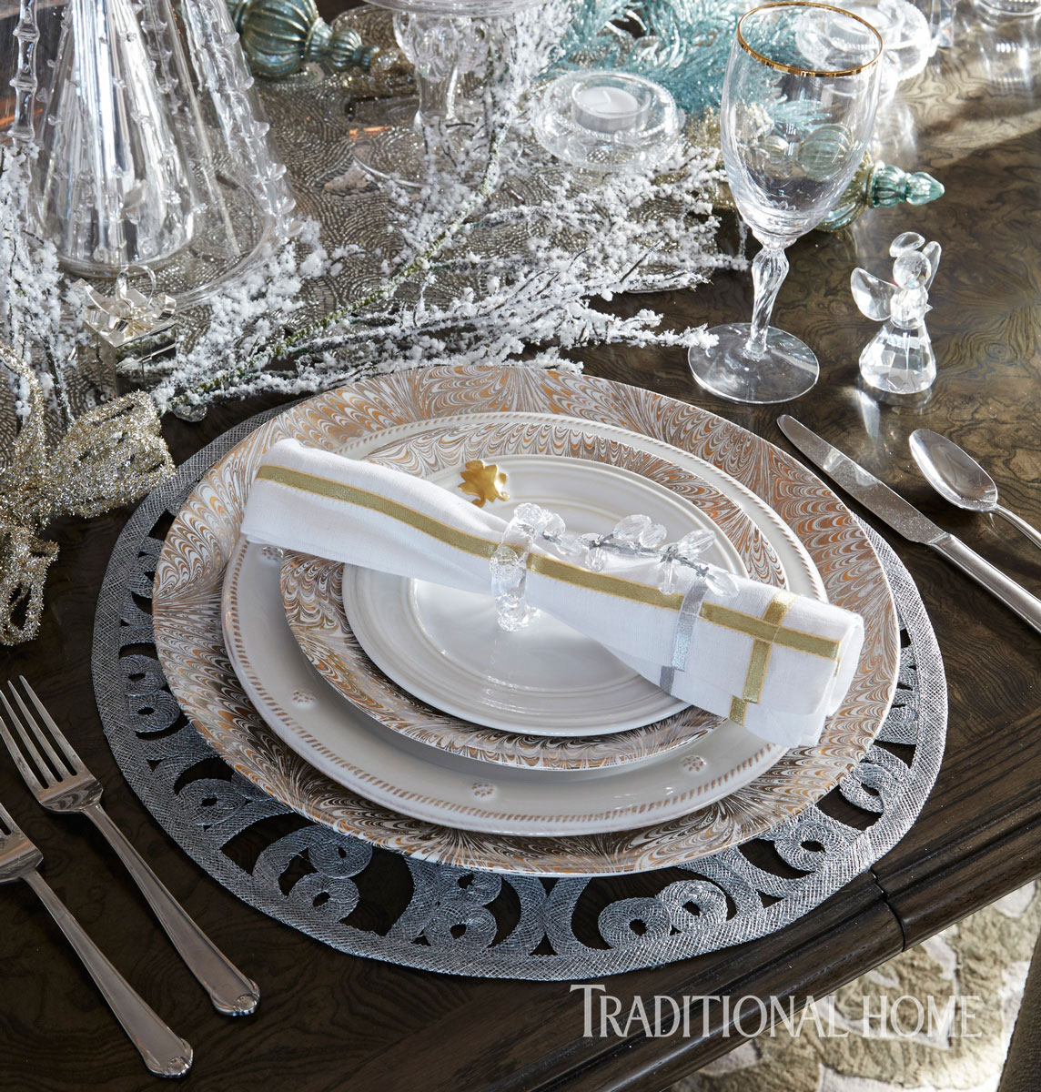 An assembly of Juliska\u0027s clear glass trees introduce added shine to this stylish table setting. Icy embellishments\u2014note the beaded branches silver placemat ... & Set with Style: Holiday Tabletop Inspiration | Traditional Home