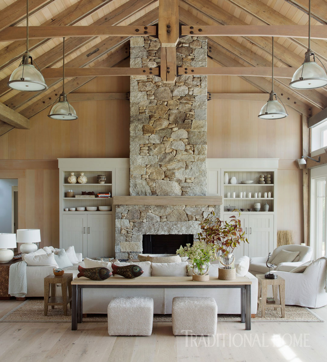 A Large Coffee Table Was Custom Made By Bausman; A Pair Of  Linen Upholstered Flexform Sofas And Two Slipcovered Verellen Swivel Chairs  Offer Generous ...