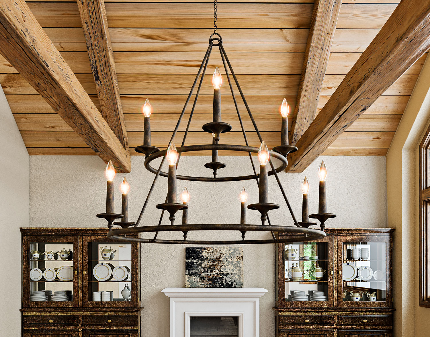 If Your Home Is Blessed With High Ceilings Look No Further Than The Quoizels Tiered Voyager Chandelier Composed Of Hand Forged Iron In A Bronze Finish