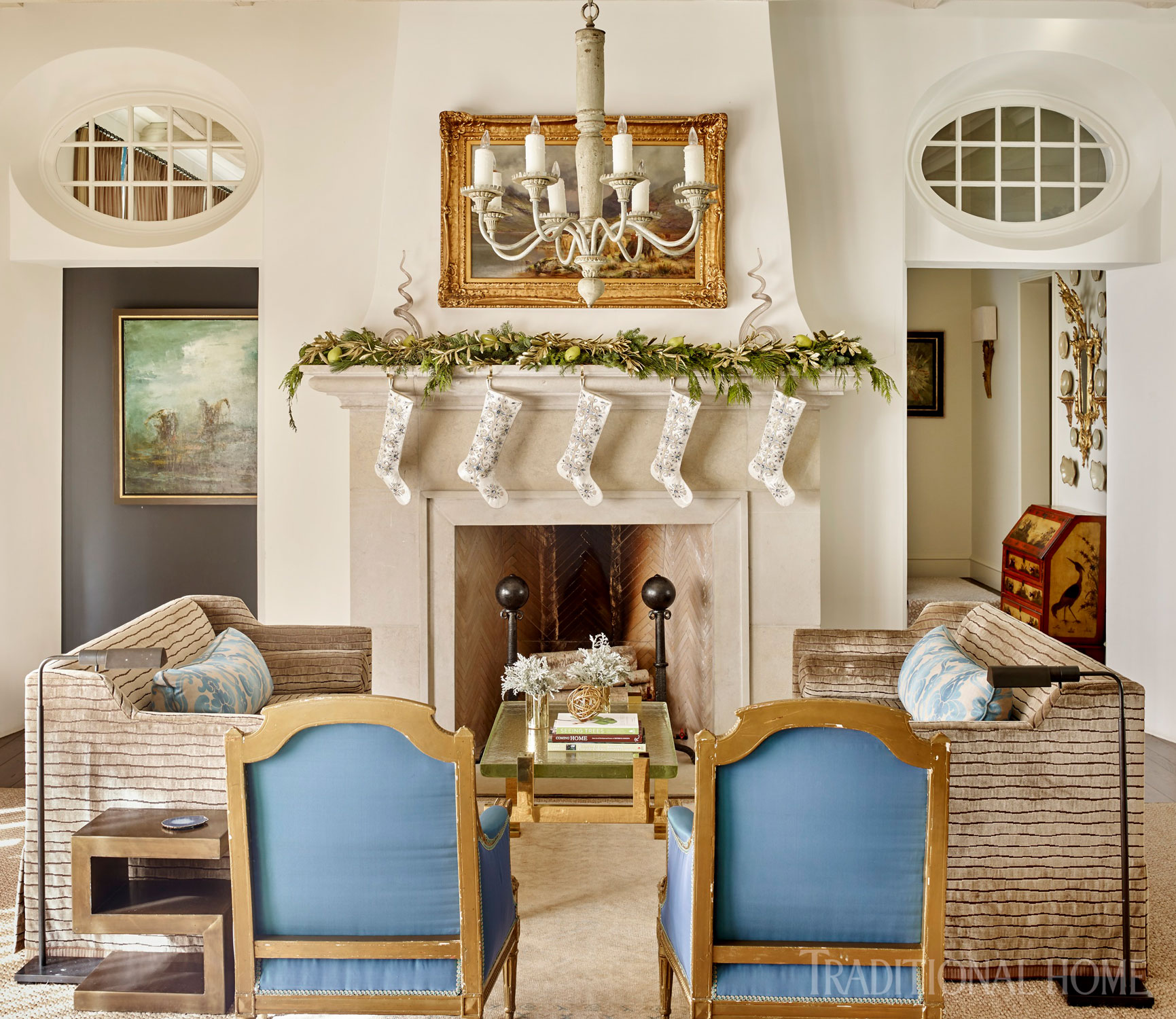 Festive Holiday Mantels Traditional Home