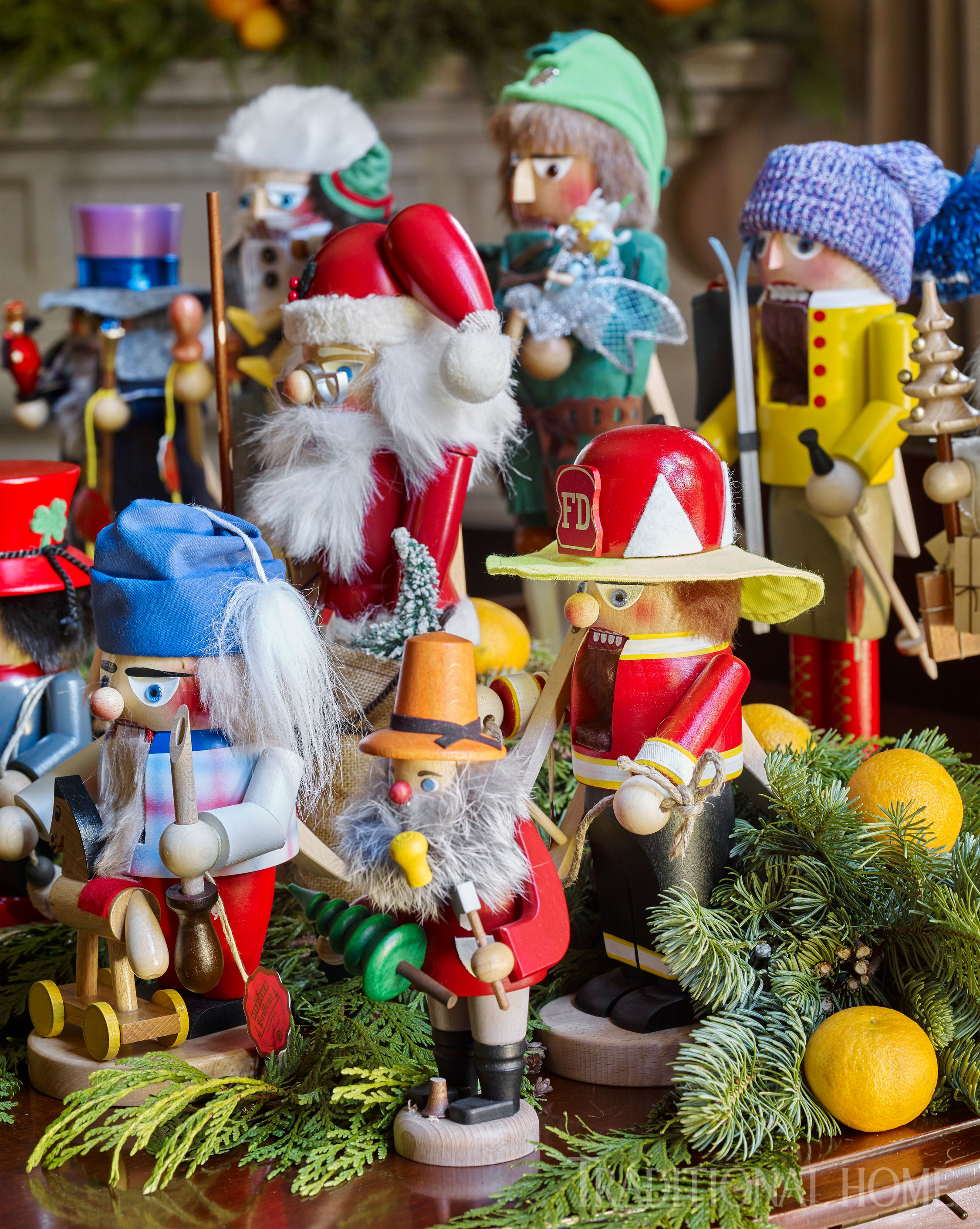 in the woodsy den of this atlanta home the homeowners collection of nutcrackers are proudly on display atop the rooms baby grand piano - Always Christmas