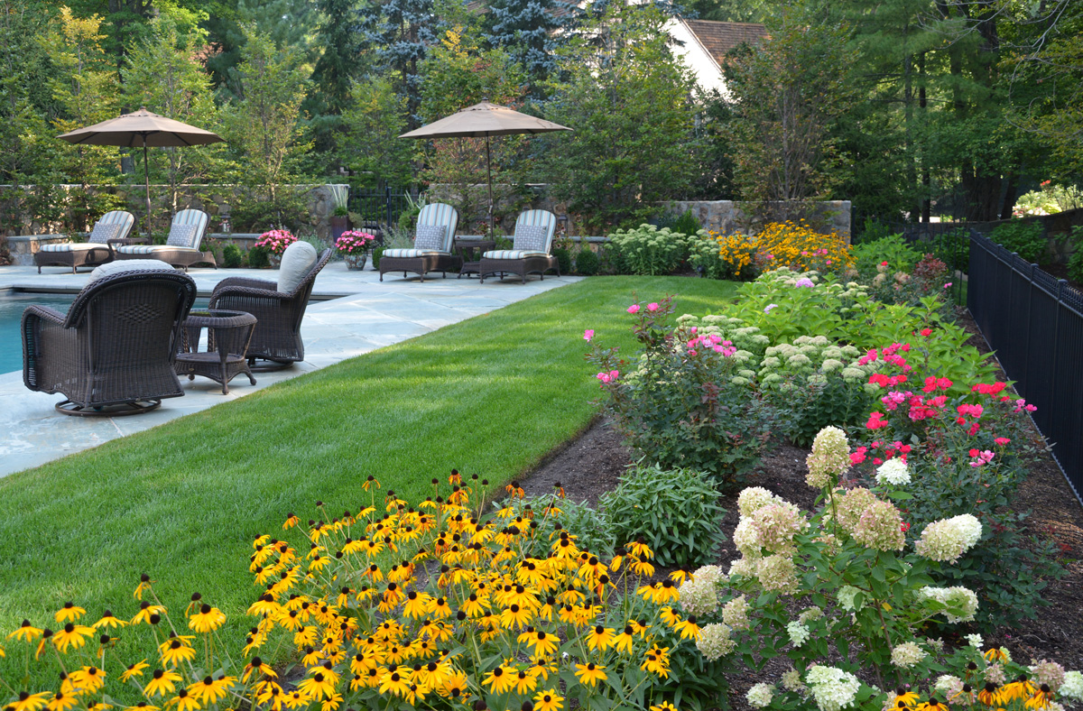 Plan a colorful perennial garden traditional home yellow rudbeckia knock out roses white hydrangea and sedum provide bright color in this sunny perennial garden a wrought iron fence provides the mightylinksfo