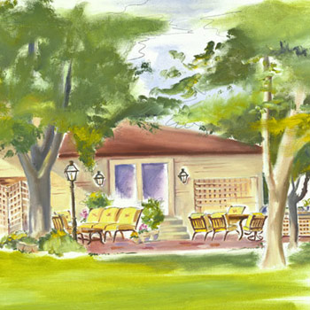 Illustration of Andra's patio redesign