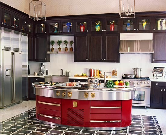 Black And Deep Red Kitchen