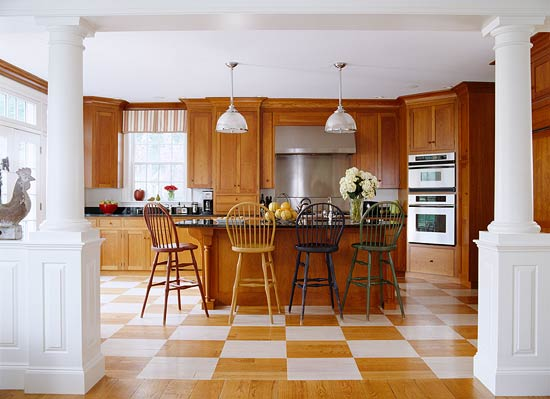 Warm Oak Cabinets Stately White Pillars Frame A View Of This Massachusetts  Kitchen Whose Homeowner Was Looking For