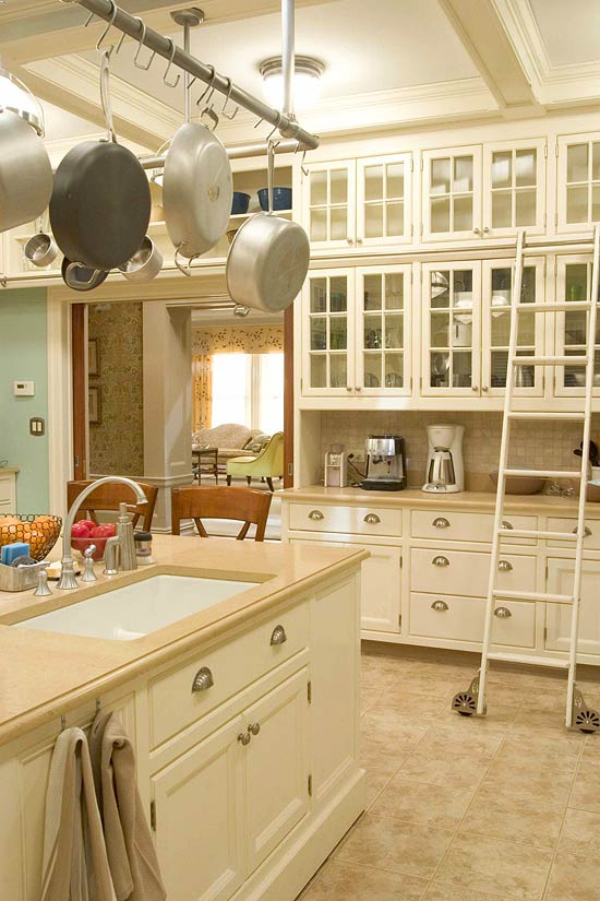 white painted cabinets and a marble topped island tags kitchen design