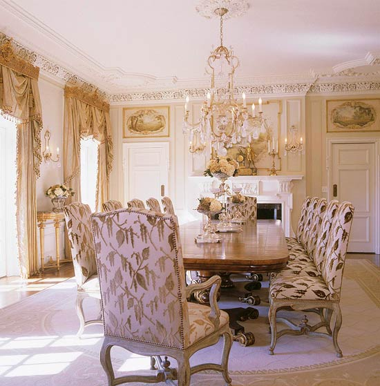 In The Dining Room Of This Tulsa Home, The Original Plasterwork Sets An  Elegant Tone. Painted Panels Above The Doors Add French Country Charm That  Is ...