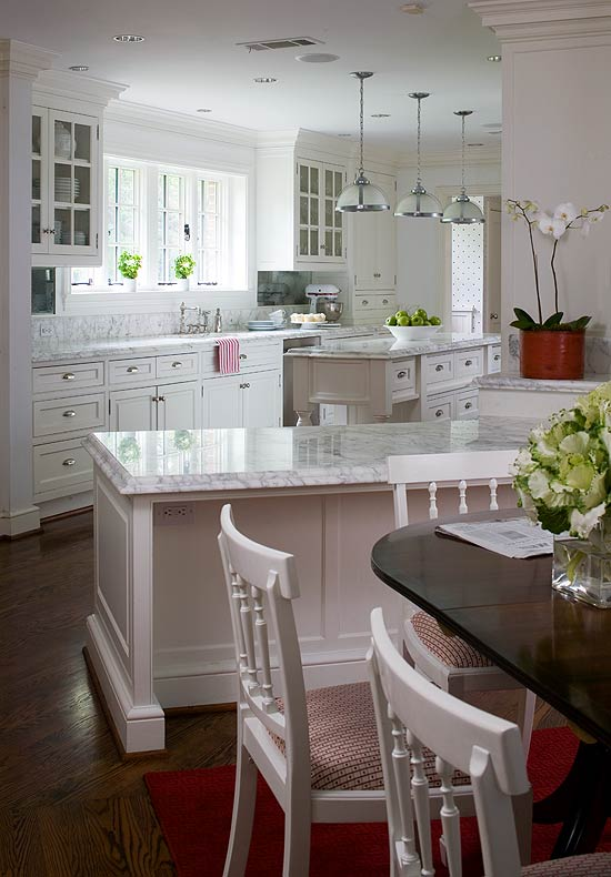 Design ideas for white kitchens traditional home for Kitchen ideas white cabinets red walls