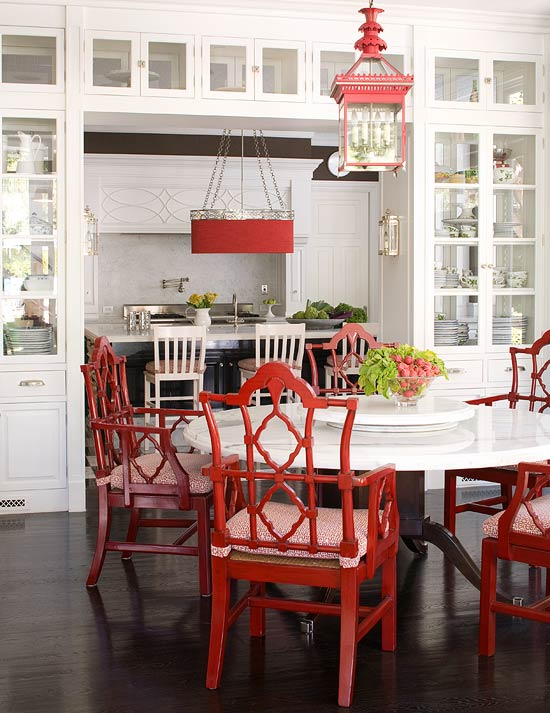 + ENLARGE. White Kitchen with Red and Black Accents