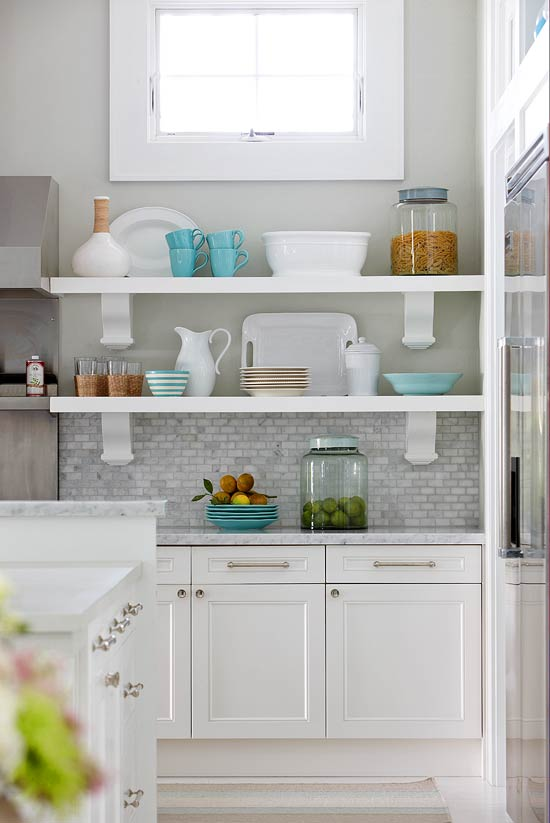 Traditional Backsplash Ideas Part - 32: + ENLARGE. White Marble Tile Backsplash