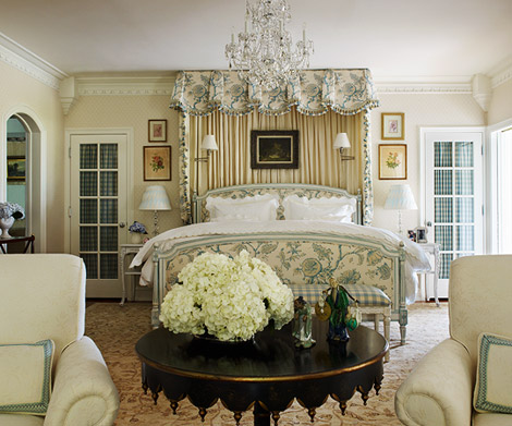 blue and cream master bedroom