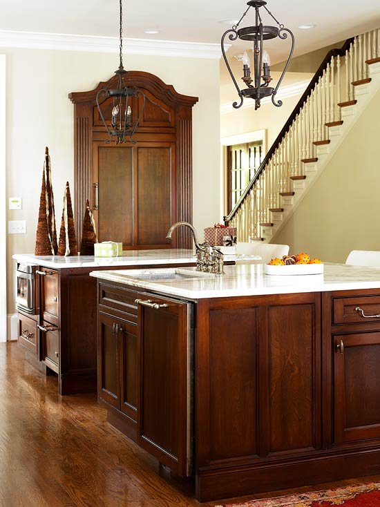 Charming + ENLARGE. Dark Stained Maple Cabinets