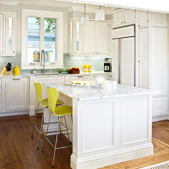 Captivating White Kitchen With Edgy Color
