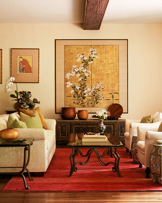 East meets west hawaiian home traditional home for Asian living room designs