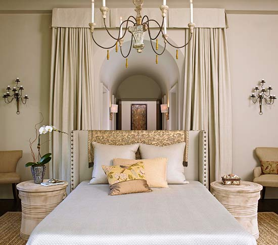 Fabric Frames a Floating Bed & Dramatic Bed Canopies and Draperies | Traditional Home