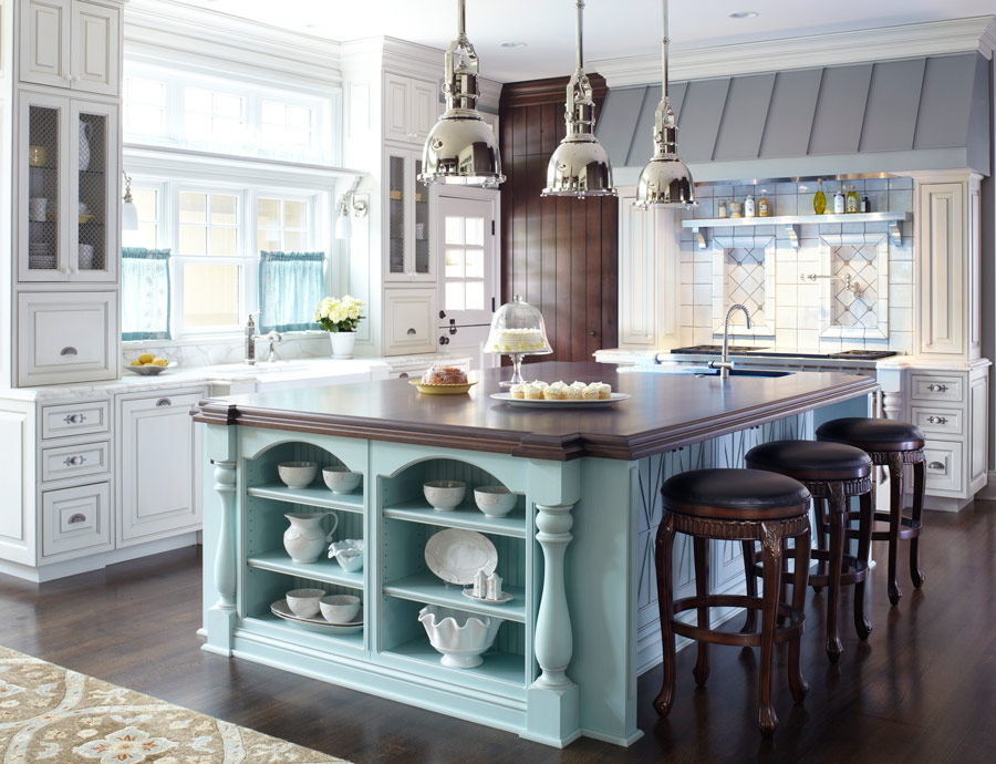 12 great kitchen island ideas traditional home for Kitchen ideas no island