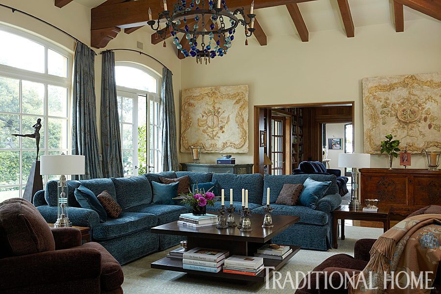 Enlarge Dominique Vorillon Grand Living Room A Blue Bauble Chandelier Dazzles