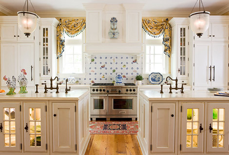 the all white kitchen allows colorful patterns on the tiled backsplash windows rug and dishes in the lighted islands to get the attention they deserve