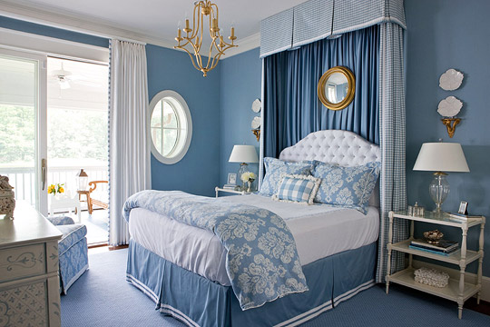 Blue and Checked Bed Canopy & Dramatic Bed Canopies and Draperies | Traditional Home