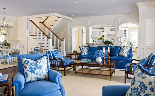 blue and white living room with a twist - Colorful Living Room