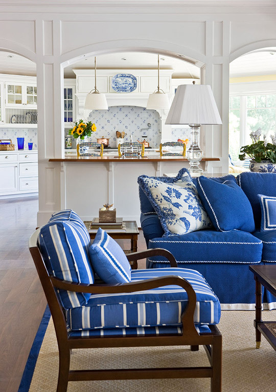 White And Blue Living Room beautiful rooms in blue and white | traditional home