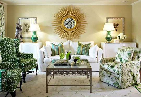 classic beautiful indian living rooms green and white sofa | Suburban House with Great Color | Traditional Home