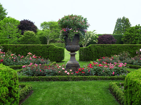 English style garden in the hamptons traditional home for Formal rose garden layout