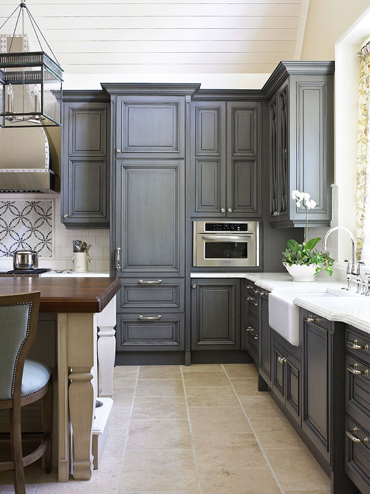 Kitchen Cabinets With FurnitureStyle Flair Traditional Home - Grey kitchen cabinets with wood countertops