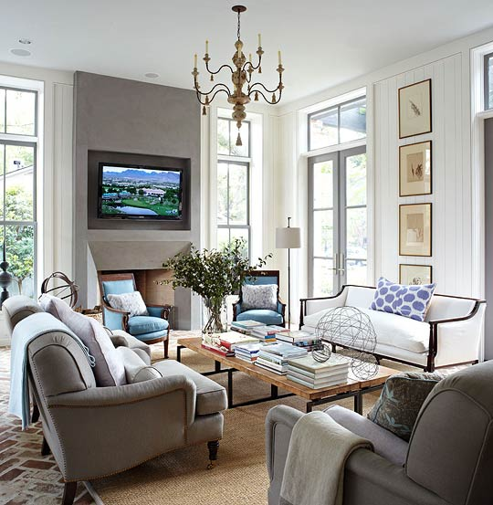 Cream And Gray Living Room