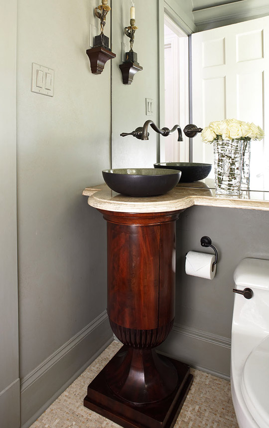 Spanish colonial house with calm palette traditional home - Powder room sink ideas ...