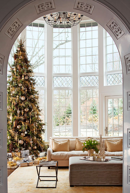 Living Room Christmas House Decorations Inside.Neutral Palette Exuberant Holidays Traditional Home