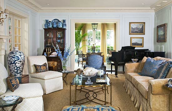 rich neutral living room with blue accents - Neutral Living Room Design