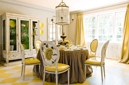 Traditional Decorating In Sunny Yellow Traditional Home Adorable Yellow Dining Room