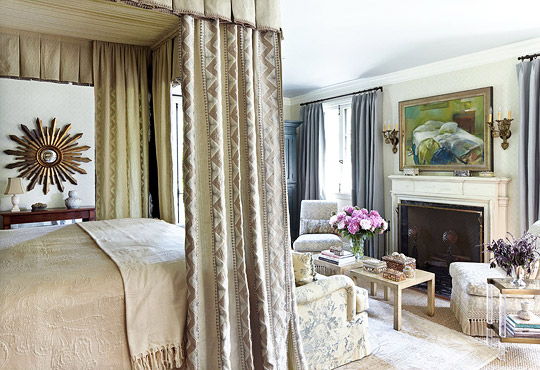 Bed Curtains with Earthy Elegance & Dramatic Bed Canopies and Draperies | Traditional Home