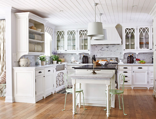 Merveilleux White Kitchen With Gothic Details