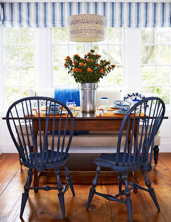 enlarge - Blue And White Dining Chairs