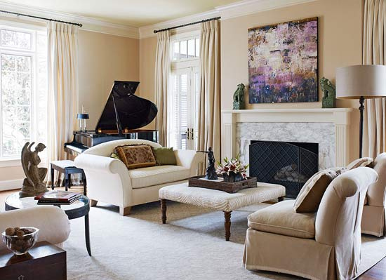 Before and after smart planning traditional home for Grand piano in living room layout