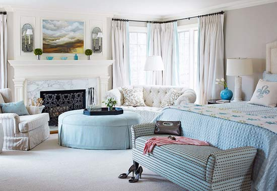 Powder Blue And Cream Bedroom And Sitting Area