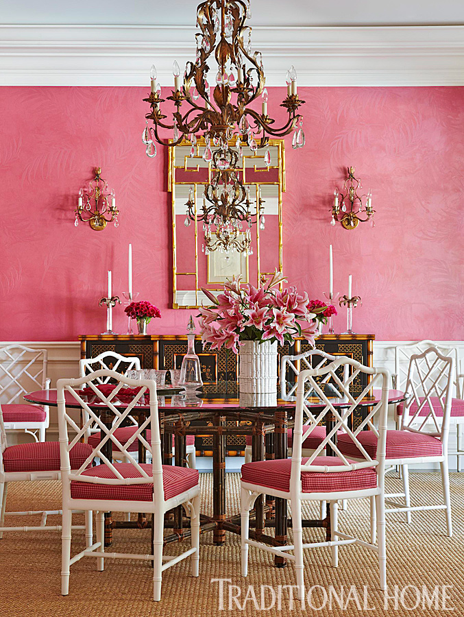 ENLARGE Robert Brantley Vibrant Pink And Gold Dining Room