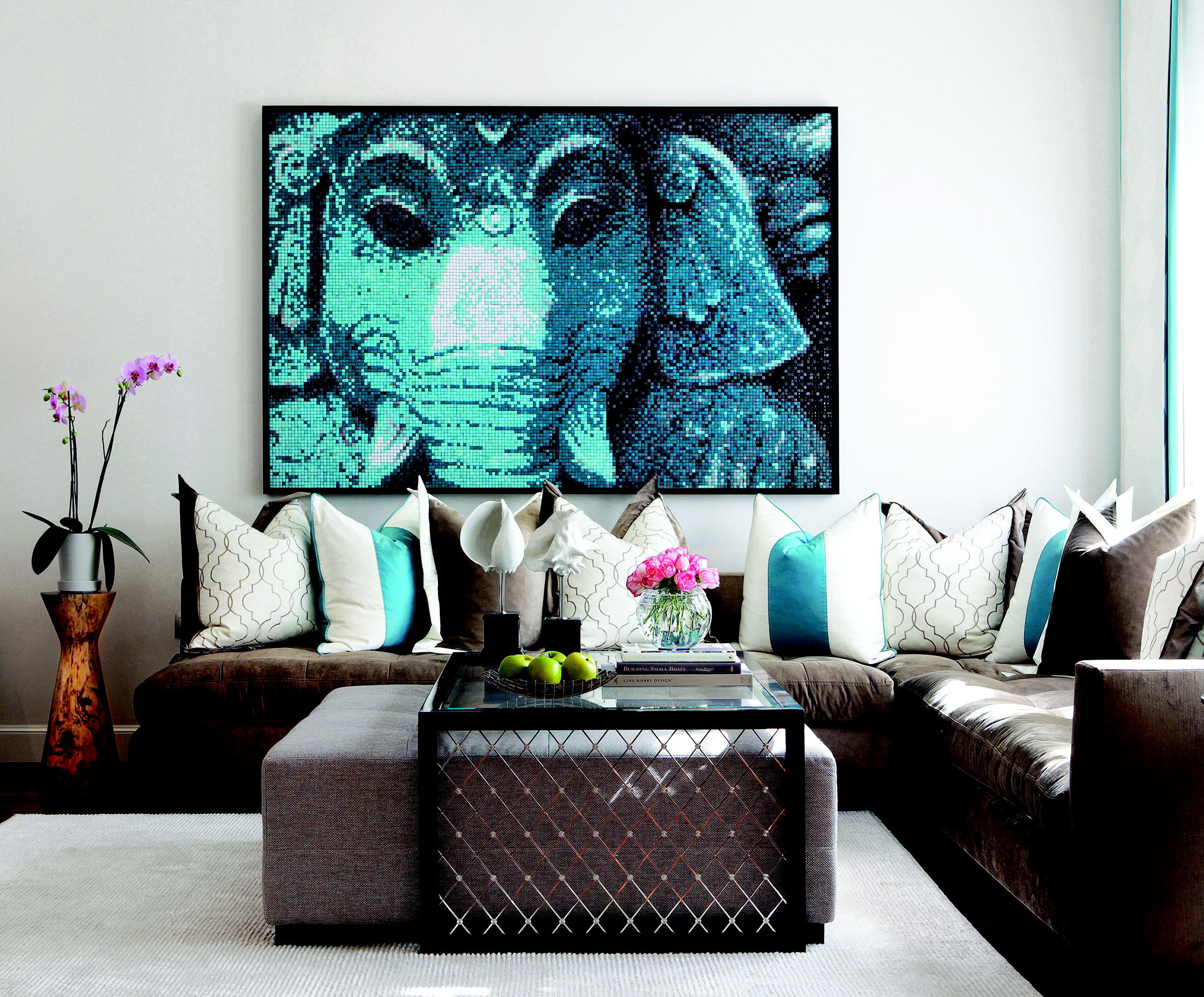 + ENLARGE. Cool Turquoise Family Room