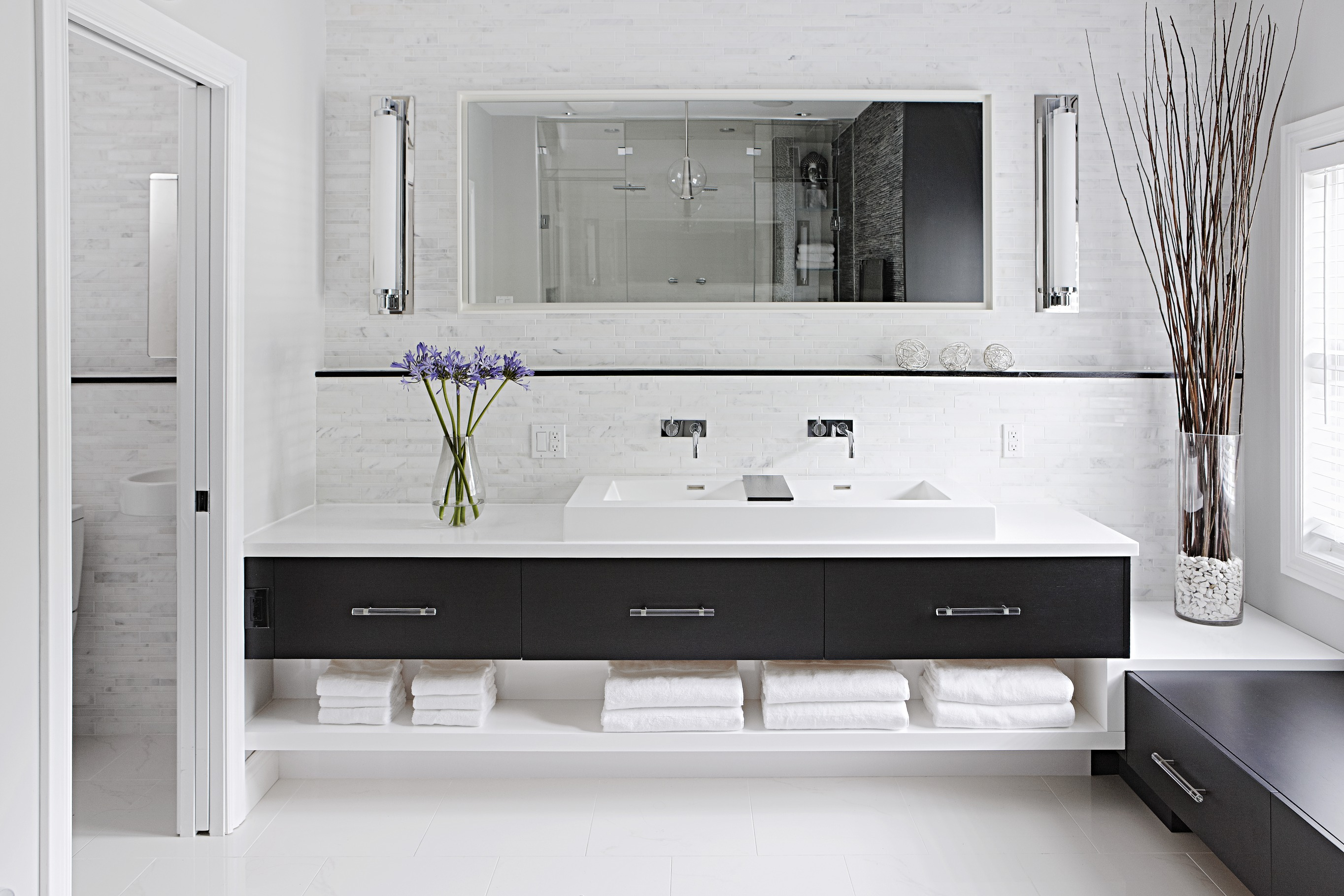 Beautiful Black-and-White Bathrooms | Traditional Home