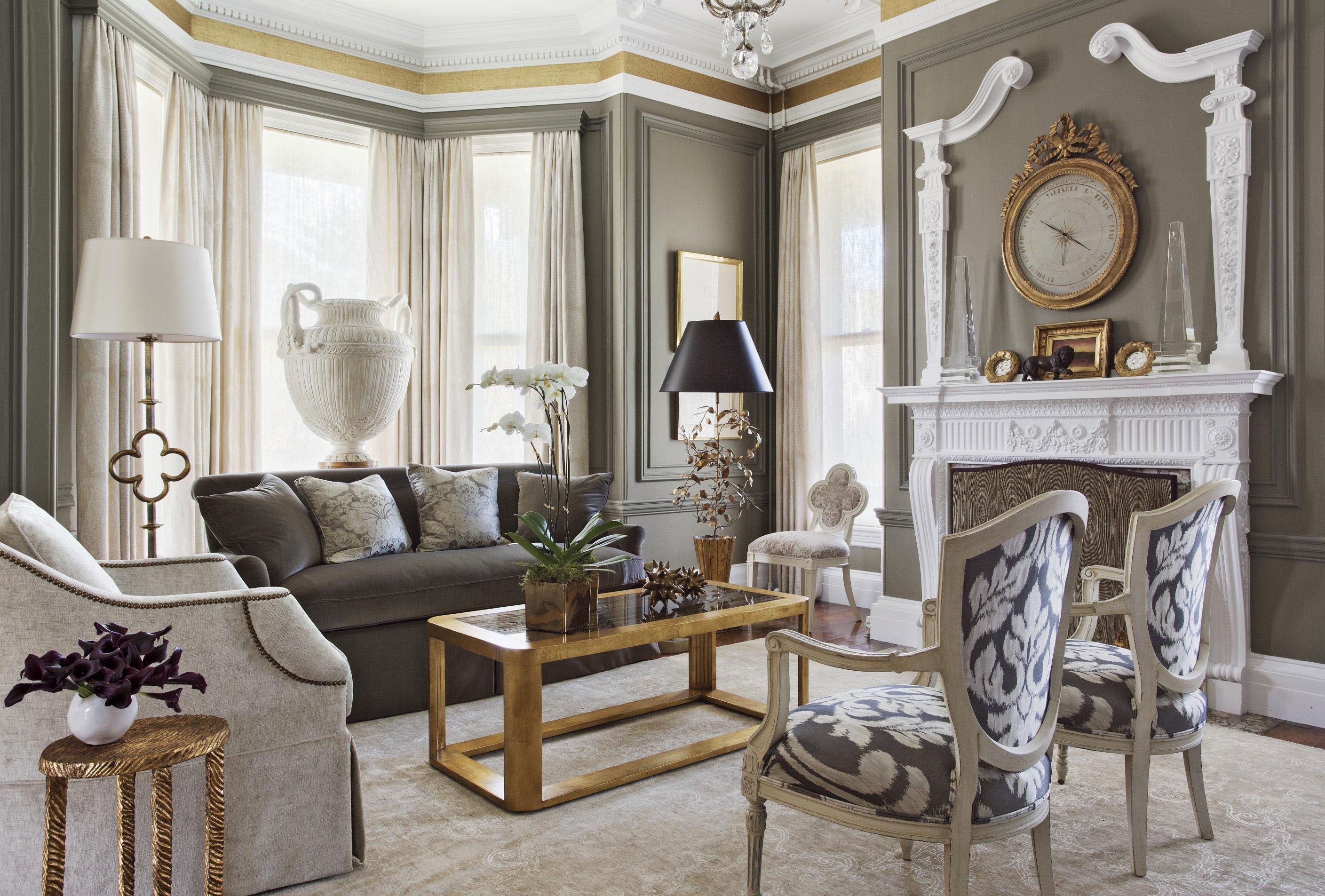 Get the look ornate mantels traditional home - How to decorate a gray living room ...