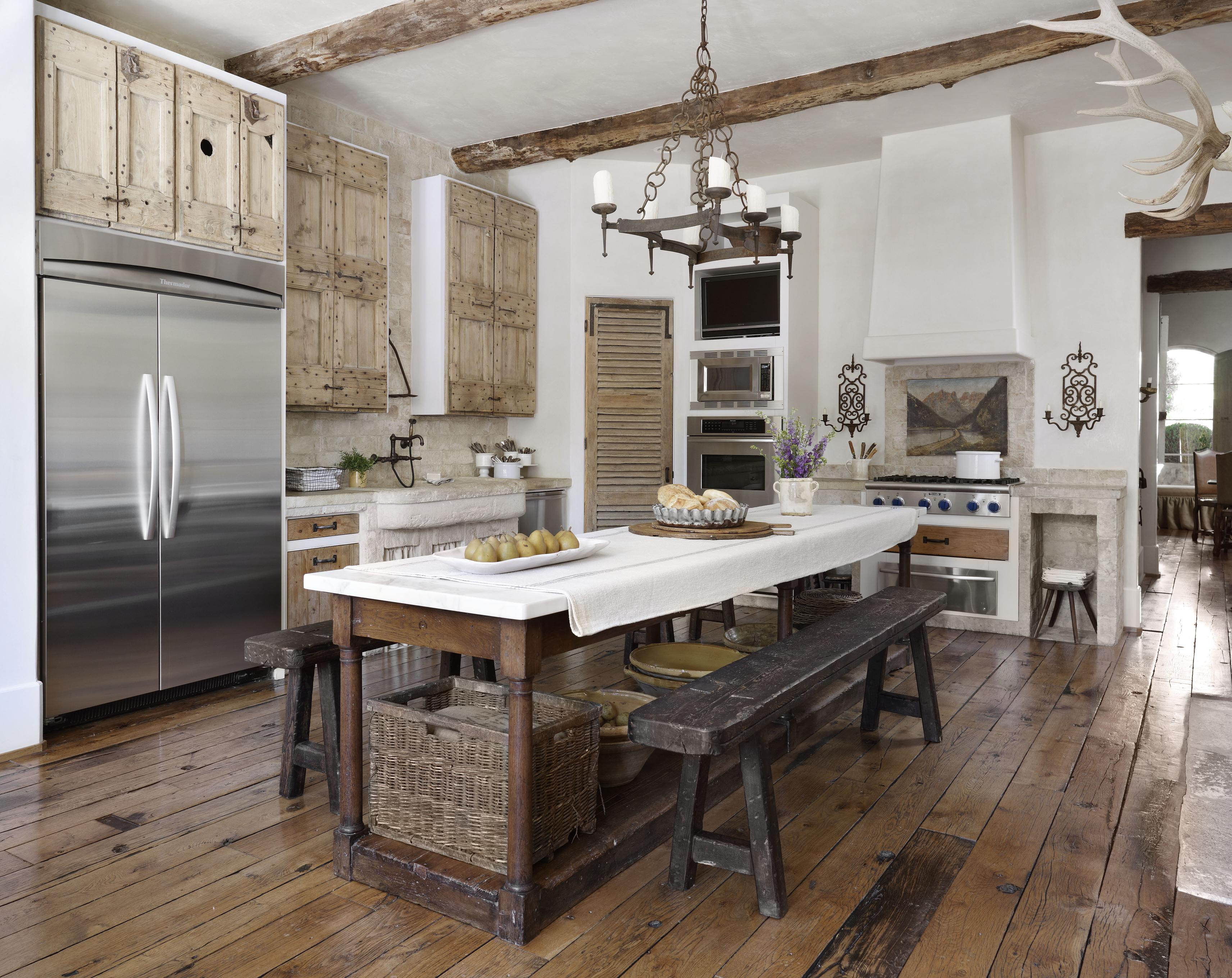 Country french kitchens traditional home - Country style kitchen cabinets design ...